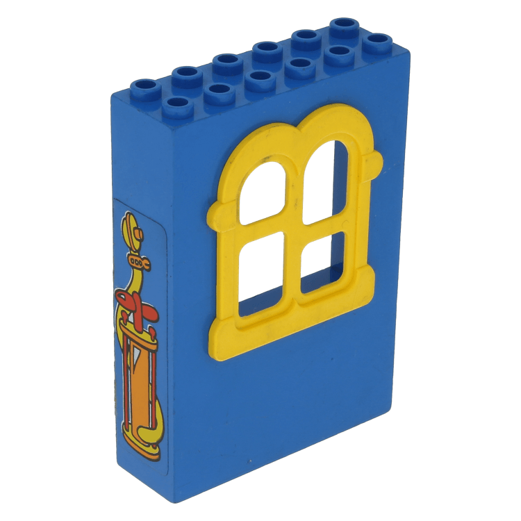 Lego Part X637c02pb02 Blue Fabuland Building Wall 2 X 6 X 7 With