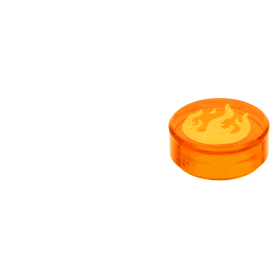 Round 1 x 1 Tile Trans-Orange LEGO Chima Gold Flame over Crescent Pattern