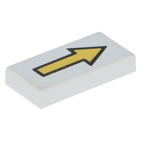 LEGO 3069bp06 Tile 1 x 2 with Groove with Arrow Long Yellow Black Border Pattern