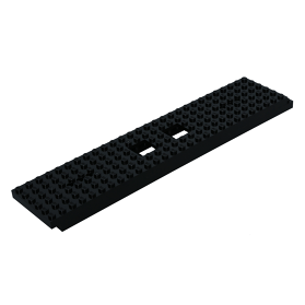 LEGO TRAIN BASE 6 X 28 WITH 2 SQUARE CUTOUTS AND 3 ROUND HOLES EACH END 92339