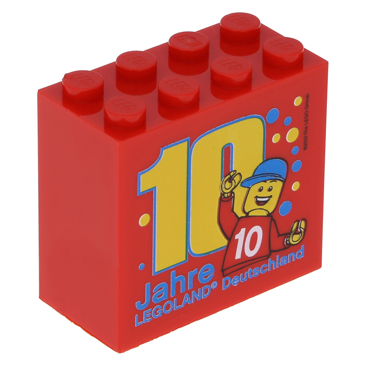 Lego Part 30144pb124 Red Brick 2 X 4 X 3 With Legoland