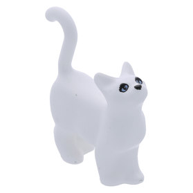 Lego White Cat Standing with Blue Eyes and Black Nose Pattern 6175px1 NEW