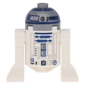 Lavender Lego Star Wars Minifigure R2-D2 Flat Silver Head Dark Blue Printing