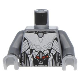 Lego New Dark Tan Minifig Torso Female Armor White Panels Silver Large Circle
