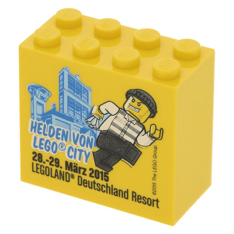 Lego Part 30144pb161 Yellow Brick 2 X 4 X 3 With Helden Von Lego