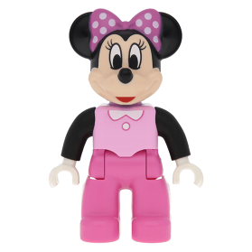 Duplo Figure Lego Ville Minnie Mouse Bright Pink Top With Black