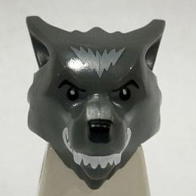 LEGO Head Modified Werewolf w// Smooth Hair /& Black Nose Minifig Dark Gray
